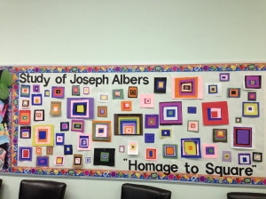 The artwork of Josef Albers from An Eye for Color was recreated by the students in their own choice of color squares.